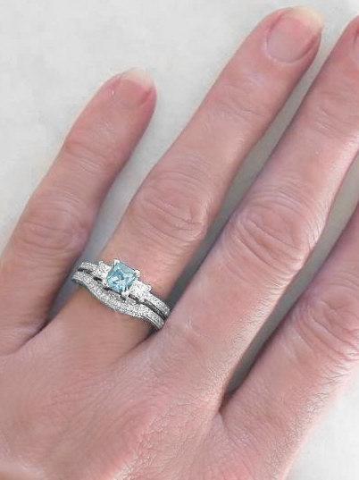 Princess Cut Aquamarine Engagement Ring And Matching