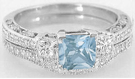 Aquamarine Engagement Rings with Matching Diamond Wedding Band