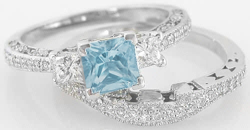 vintage princess cut aquamarine engagement ring and matching diamond wedding band - Aquamarine Wedding Rings