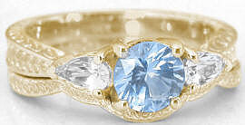 Round Aquamarine Engagement Ring in 14k Yellow Gold