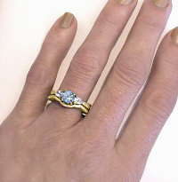 March Birthstone Aquamarine Engagement Rings in 14k Yellow Gold