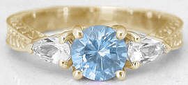 Vintage Aquamarine Ring in 14k Yellow Gold