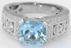 Aquamarine and Diamond Wide Band Engagement Ring