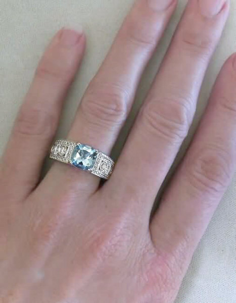 Cushion Cut Aquamarine Wide Band Ring With Milgrain Edging