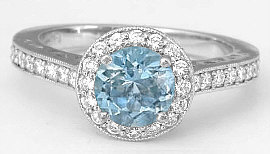 Round Aquamarine and Diamond Halo Engagement Ring in 14k