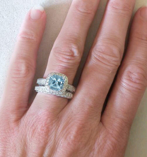 Cushion Cut Aquamarine Engagement Ring With Matching Diamond Wedding Band