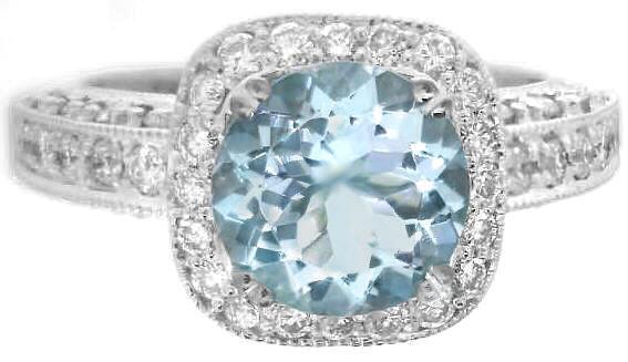 Round Aquamarine And Diamond Halo Engagement Ring And