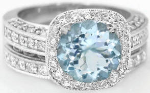2.55 ctw Round Aquamarine and Diamond Ring in 14k