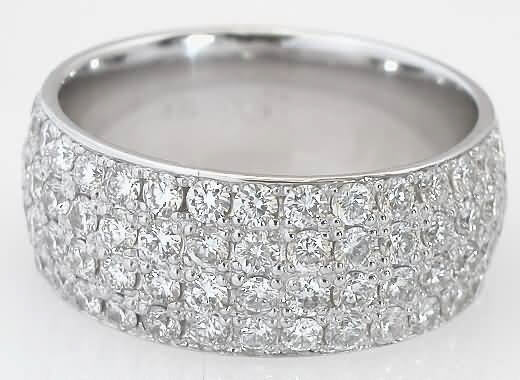 4 Row Diamond Eternity Band In 14k White Gold Yellow Gold