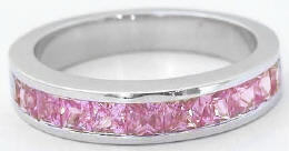 Channel Set 1.35 ctw Princess Cut Pink Sapphire Band in 14k white gold