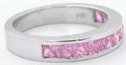 Channel Set Princess Cut Pink Sapphire Bands in 14k white gold