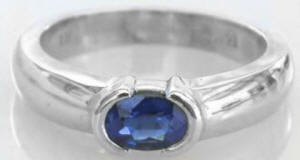 Semi Bezel Set 0.60 ct Oval Sapphire Ring in 14k white gold