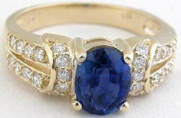 Oval Blue Sapphire and Diamond Ring in 14k yellow gold