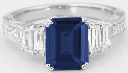 Blue Sapphire and Baguette Diamond Engagement Ring