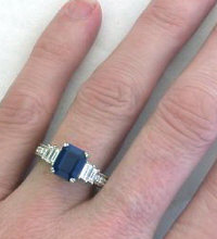 Genuine Emerald Cut Sapphire and Diamond Rings in 18k white gold