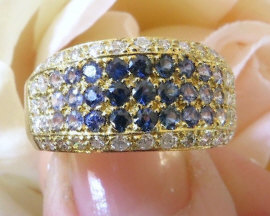 Pave Shades of Blue Sapphire and Diamond Ring in 18k yellow gold
