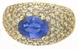 Natural Oval East West Set Blue Sapphire Ring with Pave Diamonds in solid 14k yellow gold