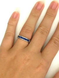 Princess Cut Blue Sapphire Band Rings in 14k white gold