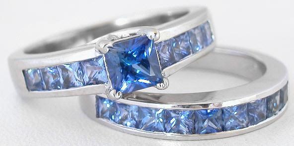 66 ctw Princess Cut Ceylon Sapphire Engagement Ring in 14k white ...