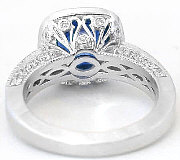 antique style natural cushion sapphire ring in 14k white gold