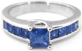 Princess Cut Ceylon Blue Sapphire Ring in 14k white gold