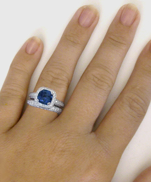 Cushion Cut Blue Sapphire And Diamond Halo Engagement Ring And Wedding Band With Milgrain Edging ...