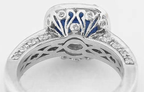 Cushion Cut Blue Sapphire And Diamond Halo Engagement Ring