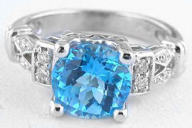 Swiss Blue Topaz Diamond Rings