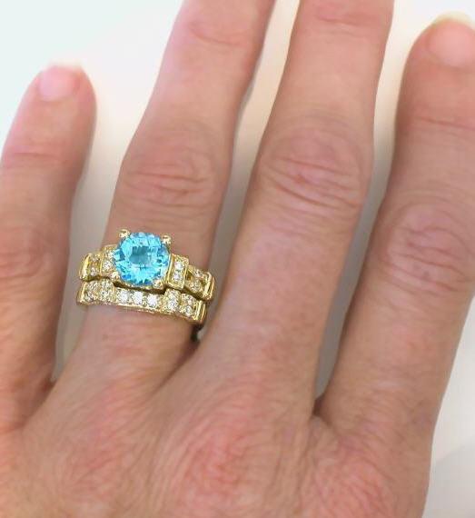 Eternity Wedding Ring Yellow Gold Topaz On Hand