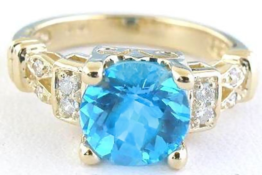 Blue Topaz and Diamond Ring with 8mm Round Checkerboard Faceted