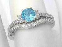 Vintage Swiss Blue Topaz Diamond Engagement Ring and Wedding Band