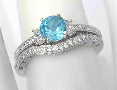 vintage swiss blue topaz diamond engagement ring and wedding band - Blue Topaz Wedding Rings