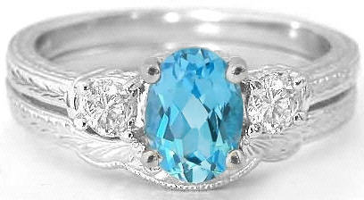 3 Stone Vintage Blue Topaz And White Sapphire Engagement