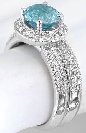 Blue Zircon Engagement Ring And Matching Band GR 1060
