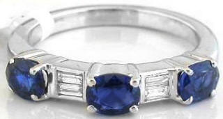 Stackable Blue Sapphire and Diamond Ring in 18k gold