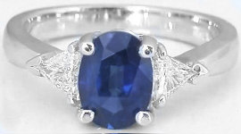 Three Stone Blue and White Sapphire Ring in 14k white gold