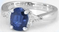 Three Stone Sapphire and Trillion Diamond Ring in 14k white gold