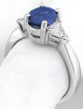 Past Present Future Sapphire and Trillion Diamond Rings in 14k white gold