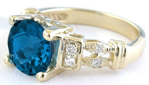 Checkerboard Faceted Round London Blue Topaz Diamond