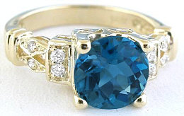 London Blue Topaz Rings in Gold
