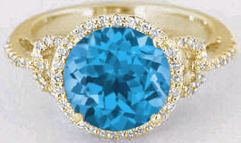 Swiss Blue Topaz Gemstone Engagement Rings in 14k Yellow Gold