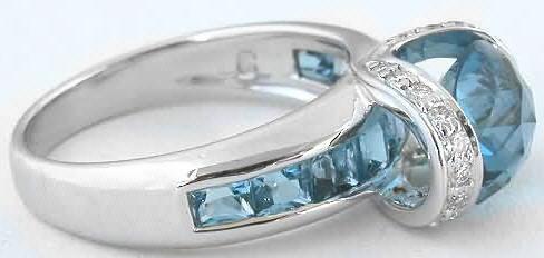 5 20 Ctw East West Set London Blue Topaz And Diamond