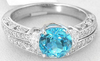 Vintage Inspired Blue Topaz Diamond Engagement Ring And