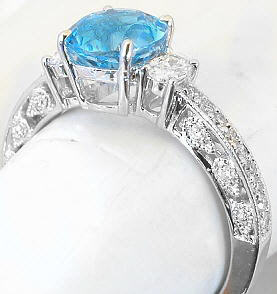 antique blue topaz and diamond engagement rings in 14k - Blue Topaz Wedding Rings