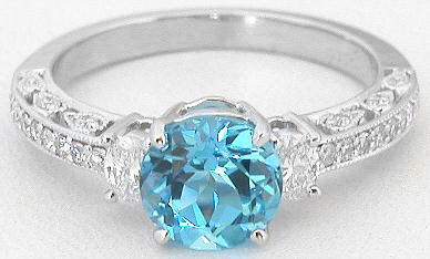 Vintage Inspired Swiss Blue Topaz And Oval Diamond Ring In