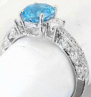 Antique Blue Topaz and Diamond Engagement Rings in 14k