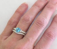 Antique Blue Topaz Diamond Engagement Ring with Fitted Wedding Band