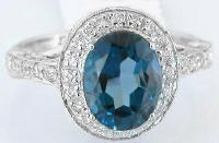 London Blue Topaz Engagement Ring in 14k White Gold
