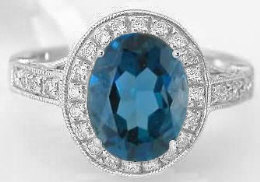 London Blue Topaz and Diamond Encrusted Halo Engagement Ring in 14k White Gold