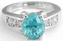 Blue Zircon Engagement Rings in 14k White Gold